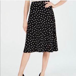 Black Polka Dot pull on Midi Skirt sz 2